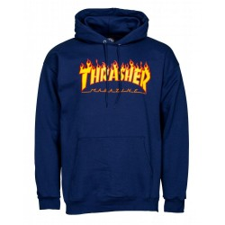THRASHER Hoody Flame Logo Navy - Sweat A Capuche Thrasher