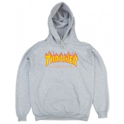 THRASHER Hoody Flame Logo Grey - Sweat A Capuche Thrasher