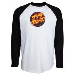 SANTA CRUZ Custom Top Flaming Japanese Dot Tee-shirt Long Sleeves - Black / White
