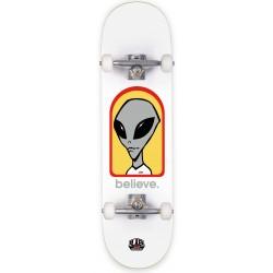 "ALIEN WORKSHOP Skateboard Believe White 8.0"" - Planche de Skate Professionnelle Complète"